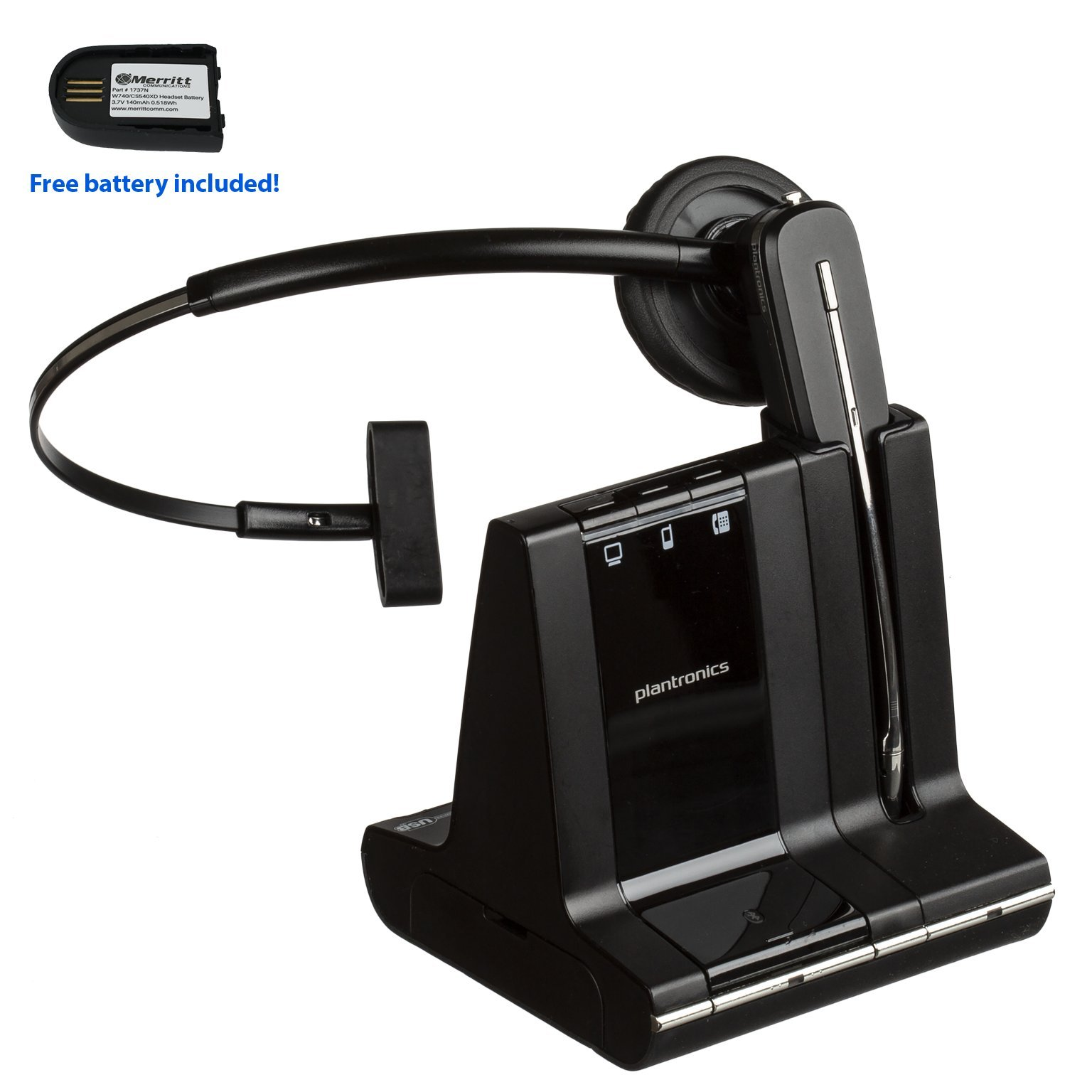 Plantronics Savi W740 Wireless Office Headset System With Free Merritt Spare Battery (Certified Refurbished)