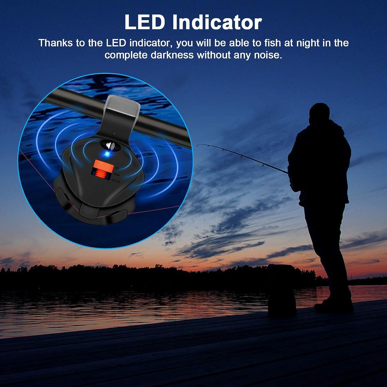Indicator Sound Bite Alert Bell with LED Lights Fishing Bells Clip On Fishing Rod Sensitive Electronic Fishing Bite Sound Alarm Daytime//Night Carp Fishing Outdoor 4 PCS Fishing Bite Alarm