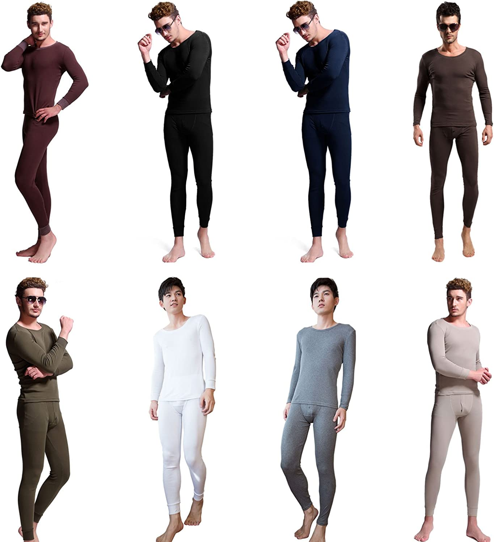 Mens Thermal Underwear Set Knocker Long Sleeve Pajamas Pants Sleep Black Size XL
