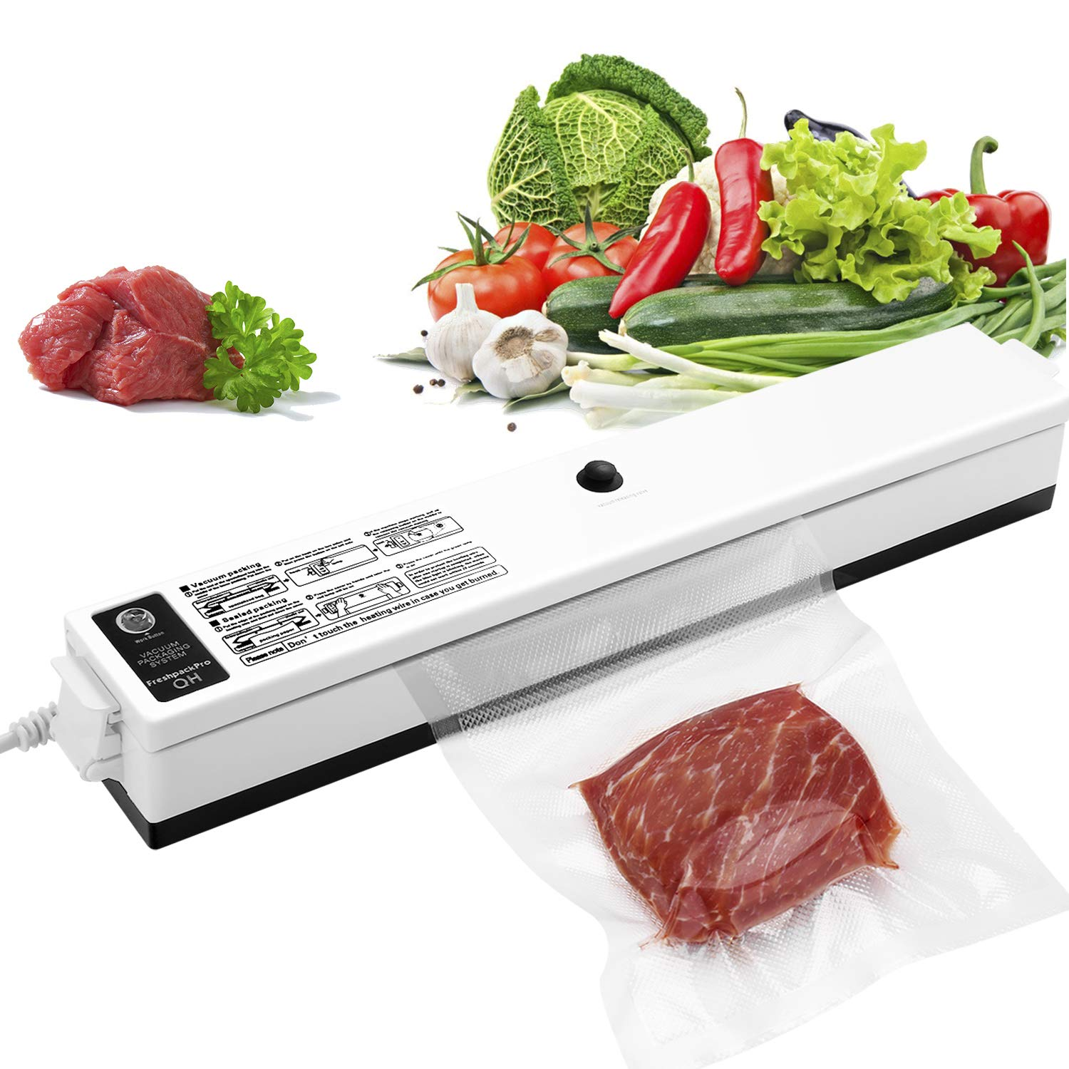 GOSCIEN Vacuum Sealer Machine, Food Sealer Machines Vacuum Food One-button Vacuum Sealing System for Household Commercial Use of Food Preservation with 15 Pcs Vacuum Bags by GOSCIEN