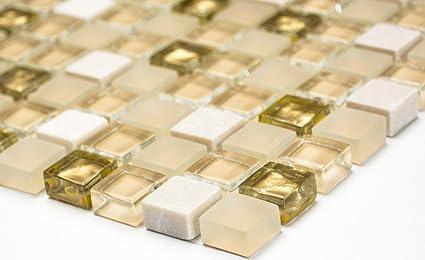 Mosaico Piastrelle Di Rete Parete Crystal Pietra Mix Bianco Opaco
