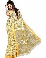Roopkala Silks & Sarees Women's Cotton With Blouse Piece (Ma-1001_Cream)