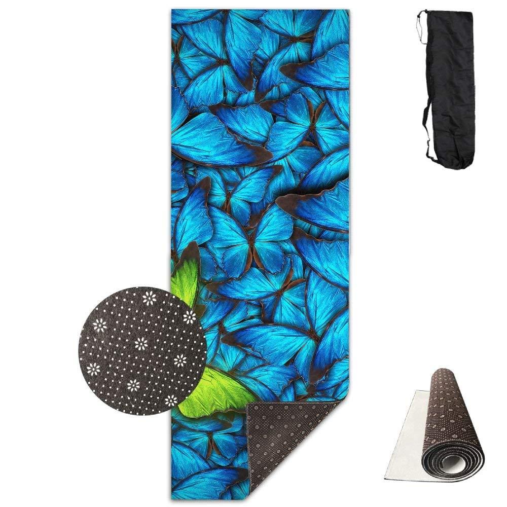 Beautiful Blue Butterflys Deluxe,Yoga Mat Aerobic Exercise Pilates Anti-slip Gymnastics Mats