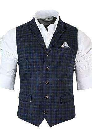 bb53f395fd004 Veste Blazer ou Gilet Homme Tweed Bleu à Carreaux Coupe cintrée Slim Style  Vintage rétro