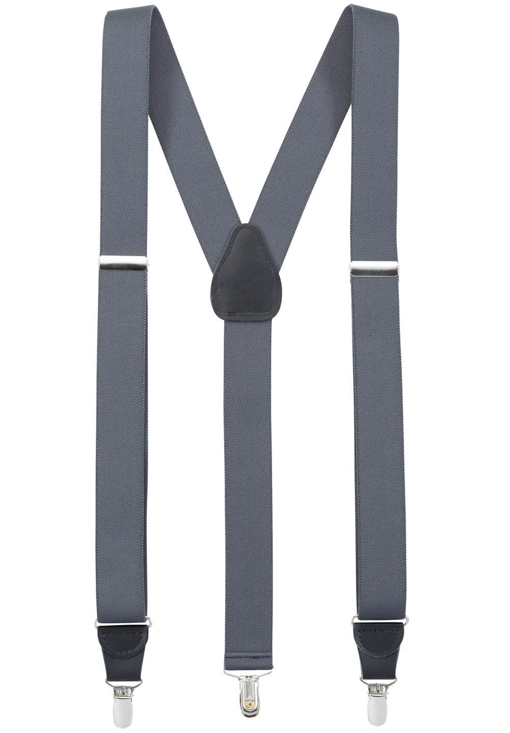 Hold'Em Suspender for Men Made in USA Y-Back Genuine Leather Crosspatch Clip on tuxedo suspenders - Grey (Tall - 54'')