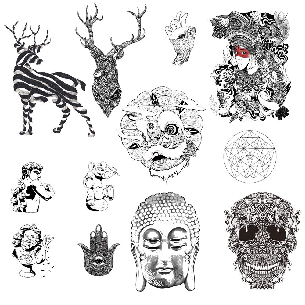 12 Creative Design Temporary Tattoos by Inktells 2020 new,Waterproof fake tattoos for Women Men Adult Kids Boys Girls,Neck Back Arm Hand Stickers about Skull Buddha Statue Deer(4 sheets)