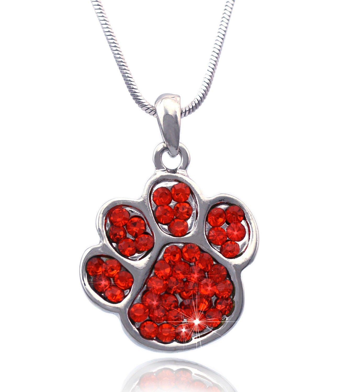 Azaina_cfj Orange - Crystal Small Doggy Dog Pet Animal Paw Pendant Necklace
