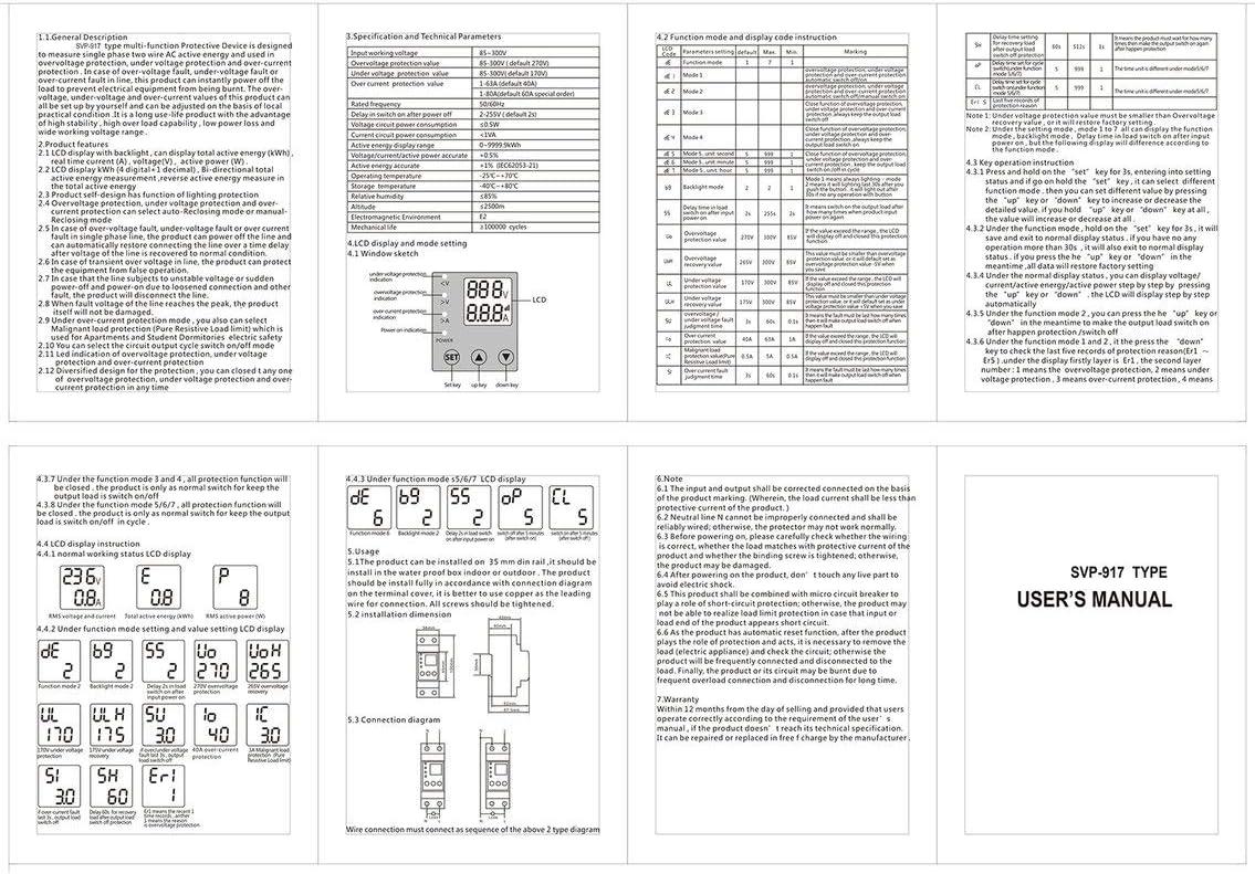 Panamami SINOTIMER 63A 80A DIN-Schiene /Überspannungsschutzvorrichtung verstellbar Stromgrenze Schutz Voltmeter Amperemeter kWh//Wei/ß