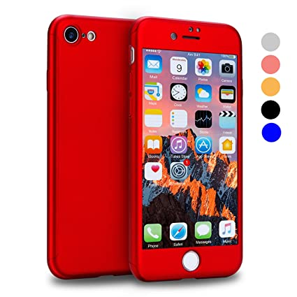 VANSIN iPhone 7 Case, 360 Full Body Protection Hard Slim Case Coated Non Slip Matte Surface with Tempered Glass Screen Protector for Apple iPhone 7 ...
