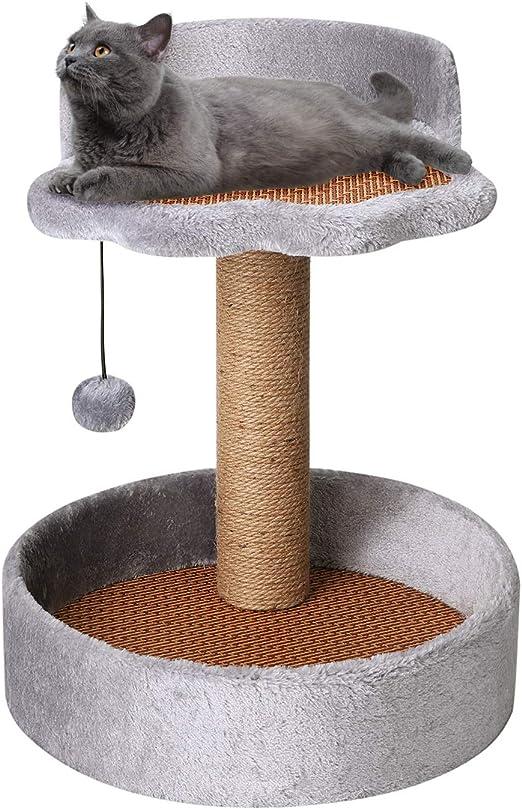 ITODA Rascador para gatos, escalada, árbol rascador, troncos de sisal para rascar, torre de escalada, 35 x 35 x 50 cm, mueble rascador, gato, felpa, ...