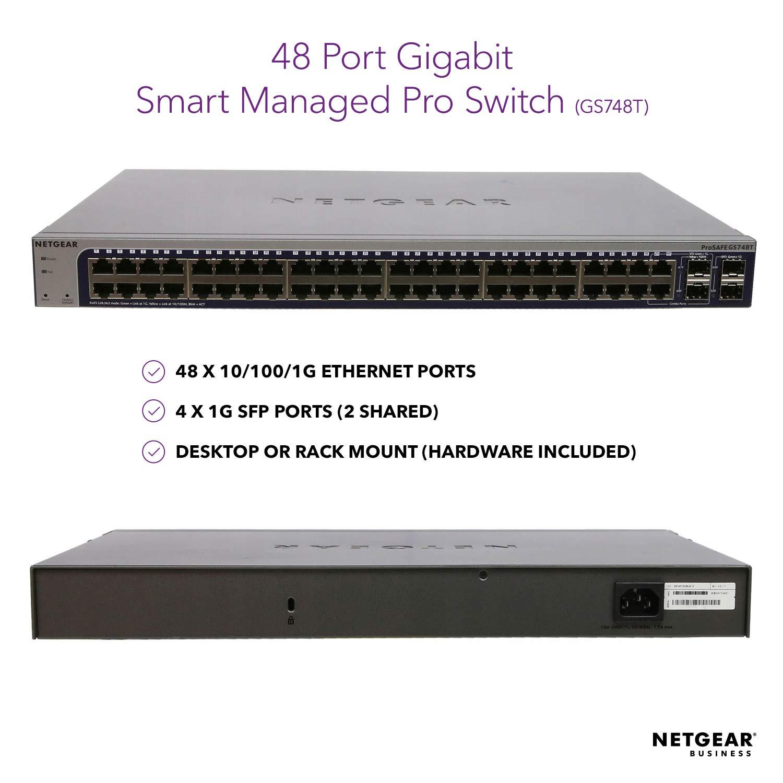 NETGEAR 48-Port Gigabit Ethernet Smart Managed Pro Switch (GS748T) - with 4 x 1G SFP, Desktop/Rackmount, and ProSAFE Lifetime Protection by NETGEAR (Image #2)