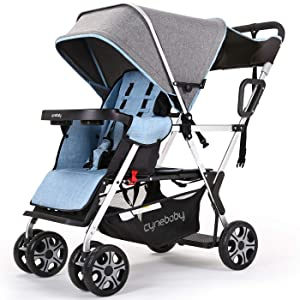 Double Stroller Convenience Urban Twin Carriage Stroller Tandem Collapsible Stroller All Terrain Double Pushchair for Toddler Girls and Boys with 2 Seating Capacity 5 Point Harness Big Storage