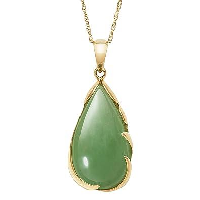 e589a9da1f0a4 Amazon.com  14k Gold Natural Jade Teardrop Necklace Pendant