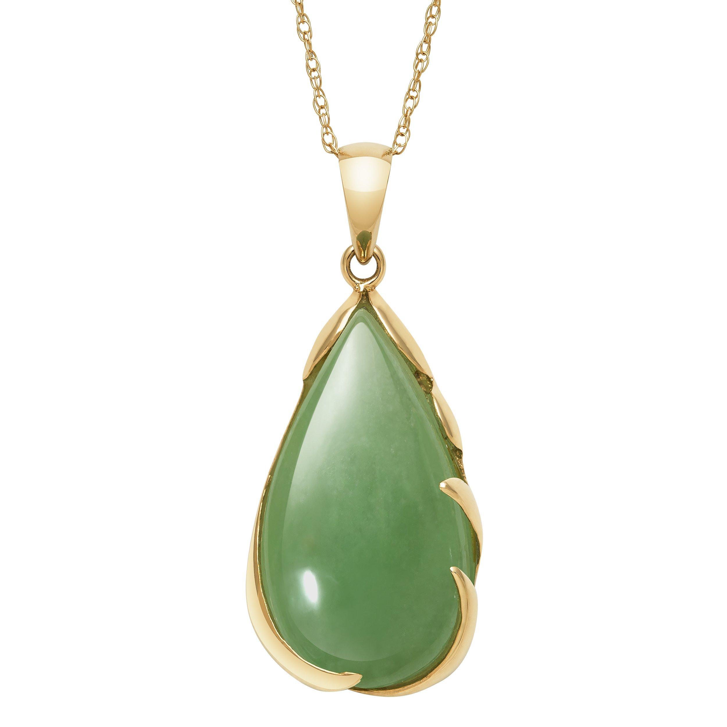 14k Yellow Gold Genuine Green Jade Teardrop Pendant Necklace,18'' by Pearlzzz
