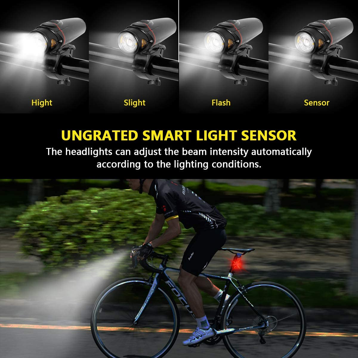Bright Waterproof LED Bike Bicycle Light USB Rechargeable Headlight Taillight RH