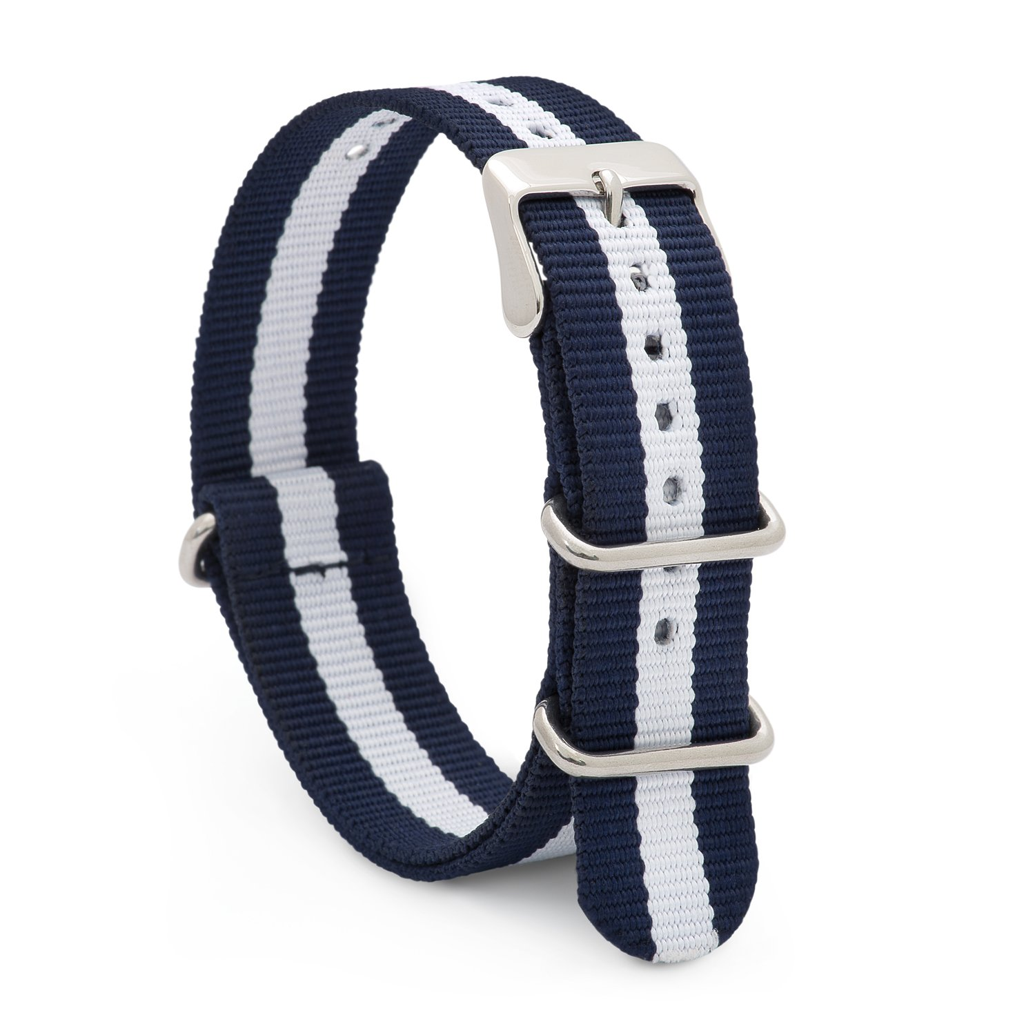 Speidel NATO Watch Band 20mm Blue and White Striped Woven Military Style Nylon Strap with Heavy Duty Stainless Steel Keepers and Buckle