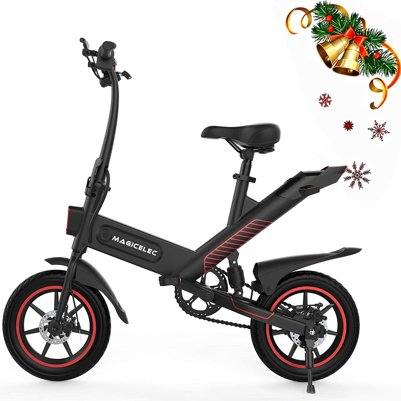 Bicicleta Eléctrica Adultos,Motor de 350w,Iluminación LED,Velocidad Máxima de 25 km/h,Batería de 10 Ah,Neumáticos de 14 Pulgadas,3 Modos de Trabajo,Amortiguador Central,Larga Distancia de 60 km