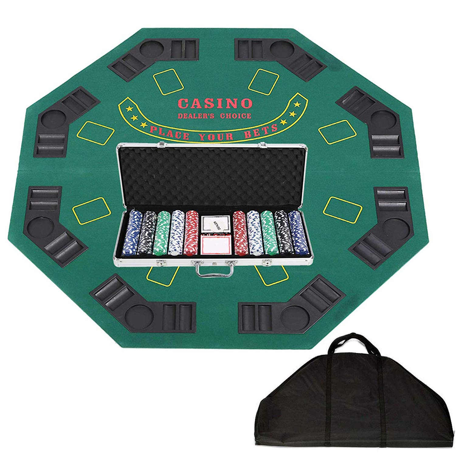 47'' Poker Table Top Folding Card Game Table Top 8 Players with 500 Poker Chip Set Carry Bag for Blackjack Texas Holdem Casino by LUCKYERMORE