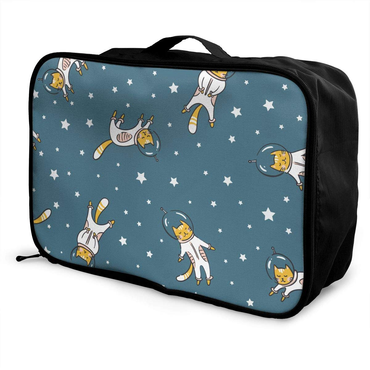 Funny Cat Astronaut Space Travel Duffel Bag Casual Large Capacity Portable Luggage Bag Suitcase Storage Bag Luggage Packing Tote Bag Weekend Trip