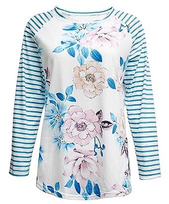 3c7bf9ba Faith Over Fear T Shirt Letter Print Tee Shirt for Women Striped Floral 3/4