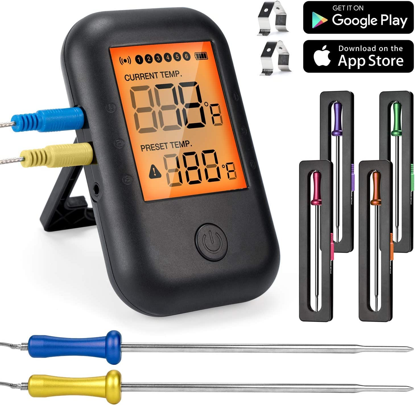 Termómetro de Carne Digital, MUSCCCM Termómetro de Cocción Bluetooth 5.0 con 6 sondas y Pantalla LCD para Horno, Barbacoa, Cocina, Soporte de IOS, Android