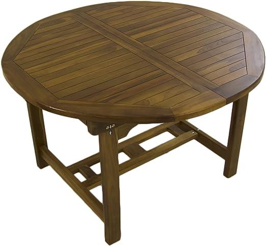 Mesa de jardín Extensible 120/180 cm de Madera Teca, Redonda ...
