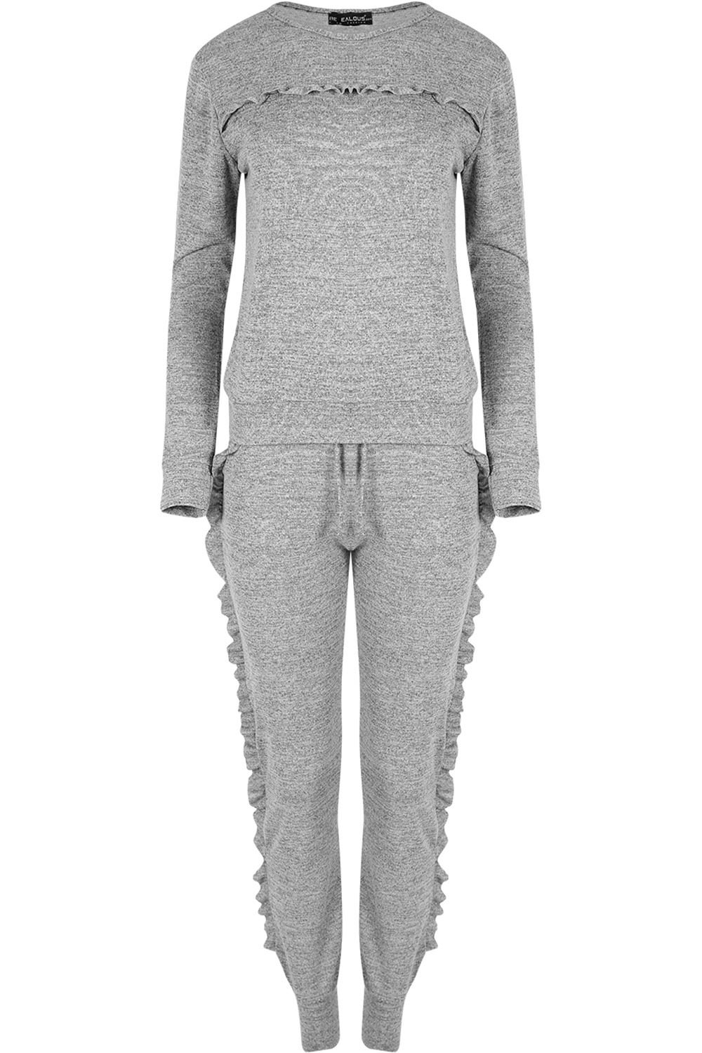 Fashion Star Oops Outlet Womens MARL Peplum Ruffle Frill Jog Top Tracksuit Ladies Loungewear Bottoms Set BE JEALOUS