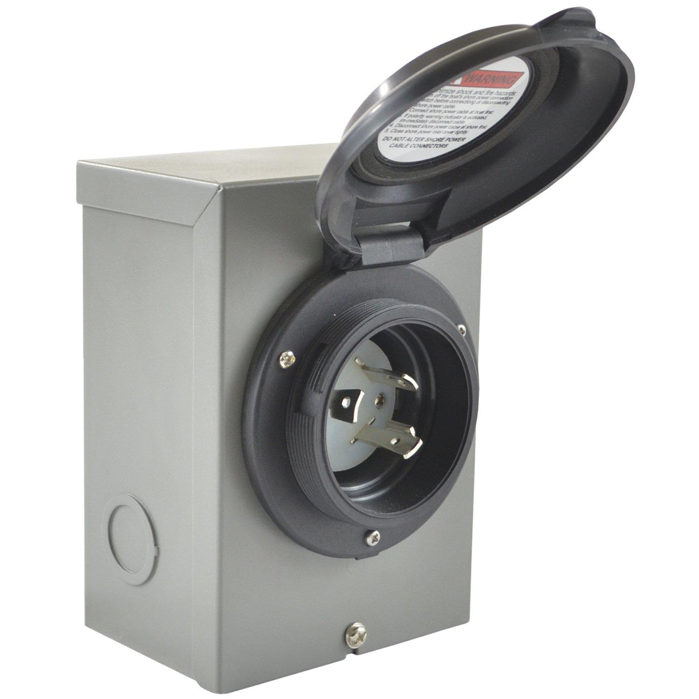 Conntek 80571-BKBX 30A 125V 30Amp Temporary Power Inlet Box, Black by Conntek (Image #1)