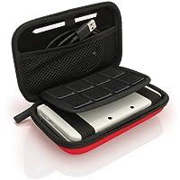 igadgitz Rot EVA Hart Tasche Schutzhülle fur Neu Nintendo 3DS XL (Alle Versionen) & 2DS XL 2017 Etui Case Cover mit Tragegurt
