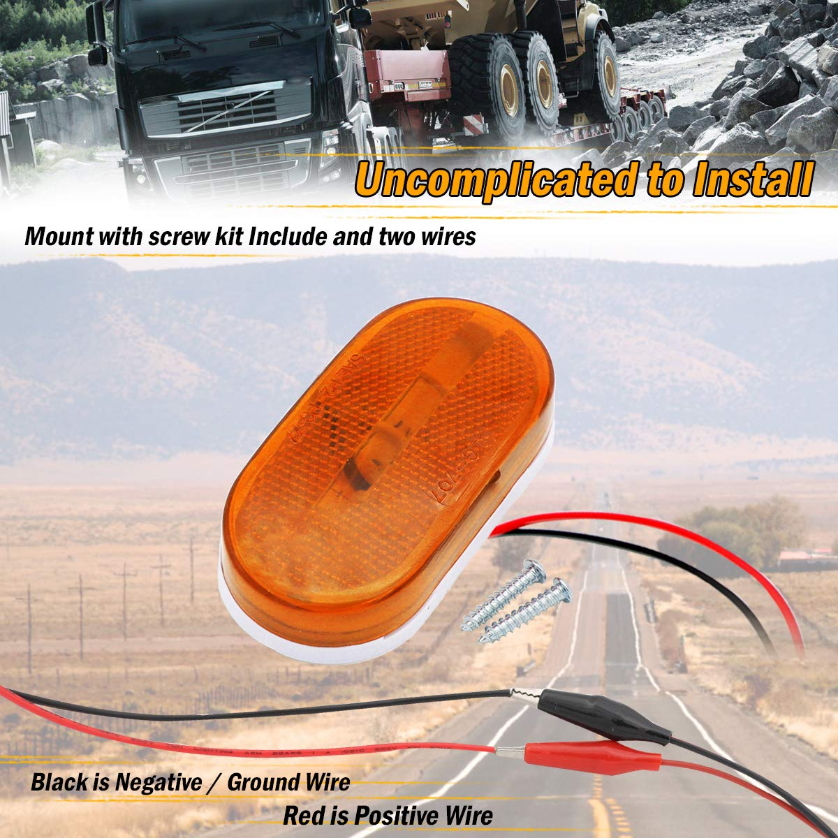 Meerkatt Oblate Amber Rectangle LED Side Marker Clearance Lamp Sealed Surface Mount w//Reflex Lens Indicator Lights 6 Diodes Trailer Truck Coach Tow Pickup Jeep SUV 12v DC Universal TT12 Pack of 10