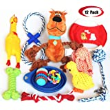 Jomilly Dog Toys Gift Set, Squeaky Ropes Plush Toys Assortment Teething Chewing for Puppy Pets,9 & 12 Pack