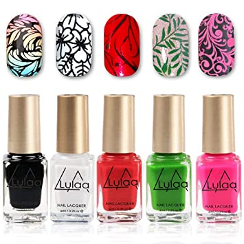 Amazon.com : DR.MODE Nail Stamping Polish - 5 Bottles Solid Color ...