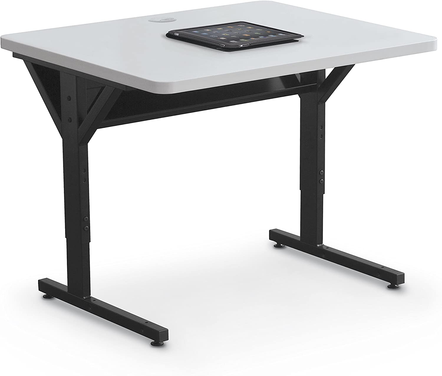 "Balt Brawny Adjustable Height Mobile Training & Maker Space Table, 36""W x 30""D, Gray"