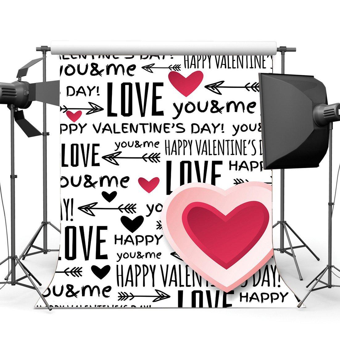 gladbuyビニール3 x 5ft Happy Valentine 's Day Backdrop Sweet Hearts Love You and Me Cupid 's Arrowロマンチック壁紙写真背景のガールズベビーウェディングパーティー飾り写真スタジオ小道具kx142   B079NPLTN1