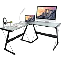 activiva L-Shaped Corner Office Computer Desk for Home Office, PC Desktop Gaming & Study Desk in Tempered Glass & Steel