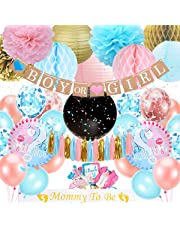 Gender Reveal Party Supplies, Baby Shower Decoration with Gender Reveal Banner Boy or Girl, Gender Reveal Balloon, Mommy to Be Sash, Photo Props for Baby Gender Reveal Decoration