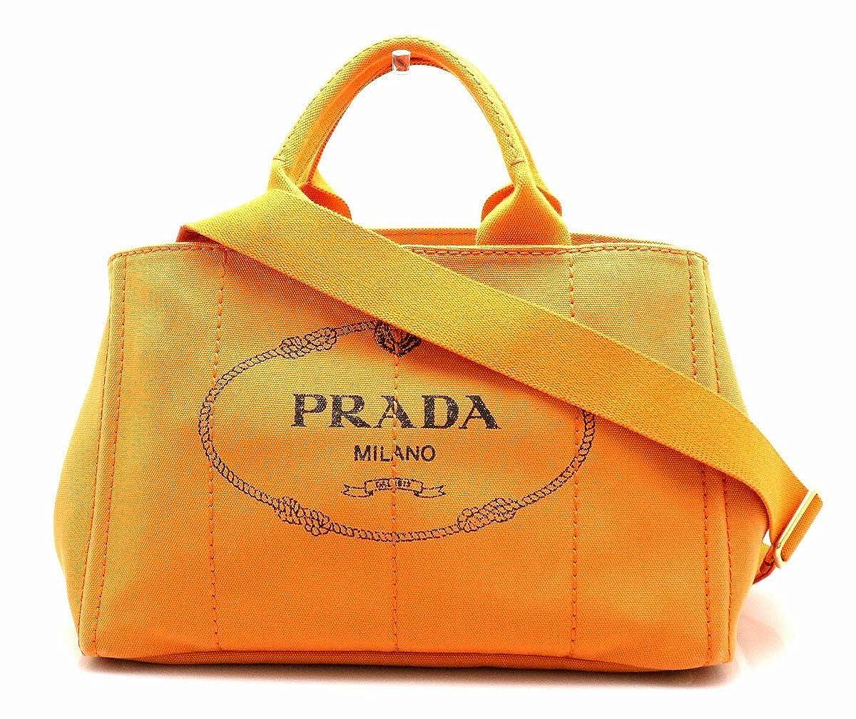 [プラダ] PRADA CANAPA カナパトート トートバッグ ハンドバッグ 2WAY ショルダーバッグ キャンバス PAPAYA オレンジ 国内ブティック購入品 B1877G [中古] B07KH33KP4