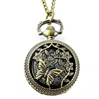 YouYouPifa Retro Bronze Butterfly Take Honey Pattern Carved Hollow Small Pocket Watch