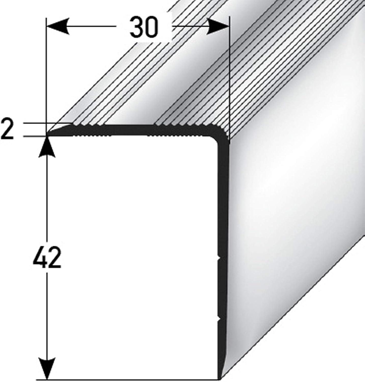 42x30mm 100cm Treppenkanten-Profil Ungelochte Stufenkante Treppenstufen-Profil aus Alu acerto 38335 Aluminium Treppenwinkel-Profil bronze dunkel * Rutschhemmend * Robust * Leichte Montage