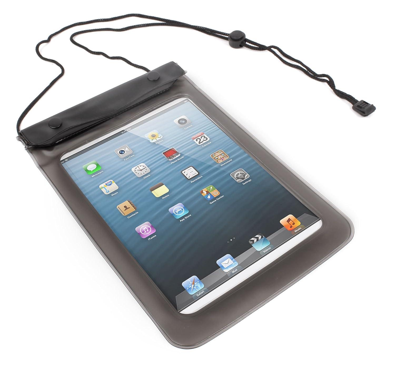 DURAGADGETプレミアムブラックWater Proofすべて目的バッグケースネックストラップ付きApple iPad Mini / mini 2 /新しいiPad mini 3   B00OLN8TTQ