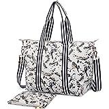 Miss Lulu 2 Pieces Women Bird Flower Matte Oilcloth Foldaway Overnight Bag Large Light Weight Shoulder Handbag