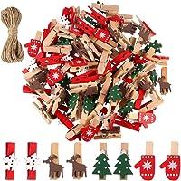 100 pinzas de madera de cinco puntas con clip de madera de 3,5 cm ProLeo