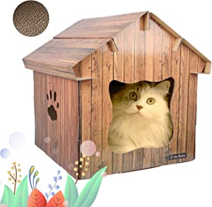 Hoi Blume Cat House, Carboard Cat House for Indoor Cat with Scratching Board, Nice, comfortabel and DIY