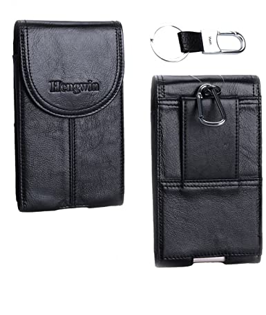 Hengwin Hwin Vertical Belt Clip Case Holster, Premium Leather Carrying Case Ultrathin Belt Waist Bag Smartphone Holster Pouch Magnetic Closure for ...