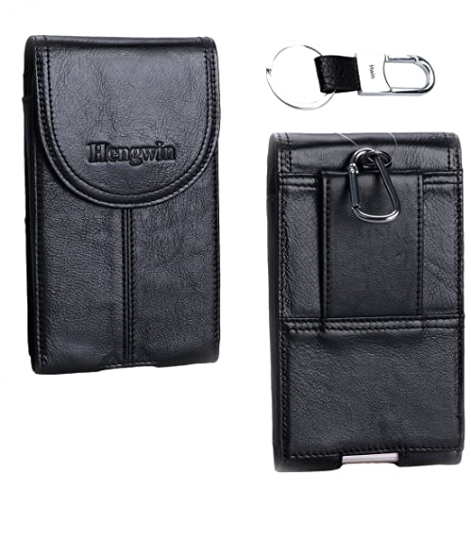 timeless design 32642 fae60 Hwin Vertical Belt Clip Case Holster, Premium Leather Carrying Case  Ultrathin Belt Waist Bag Smartphone Holster Pouch Magnetic Closure for  iPhone ...