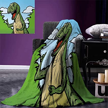 Amazon Dinosaur Throw Blanket Cartoon TRex With Funny Face Awesome Dinosaur Throw Blanket