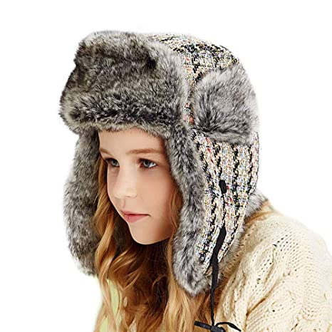 cff7adc60a431 Amazon.com  Jenify Winter Trapper Hat Kids Girl Bomber Hats Faux Fur  Trapper Hat Winter Hat with Ear Flaps Winter Windproof Ski Hat  Sports    Outdoors