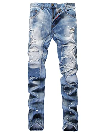6e82c0b20a Wenseny Mens Ripped Destroyed Washed Jeans Paint Splatter Straight ...