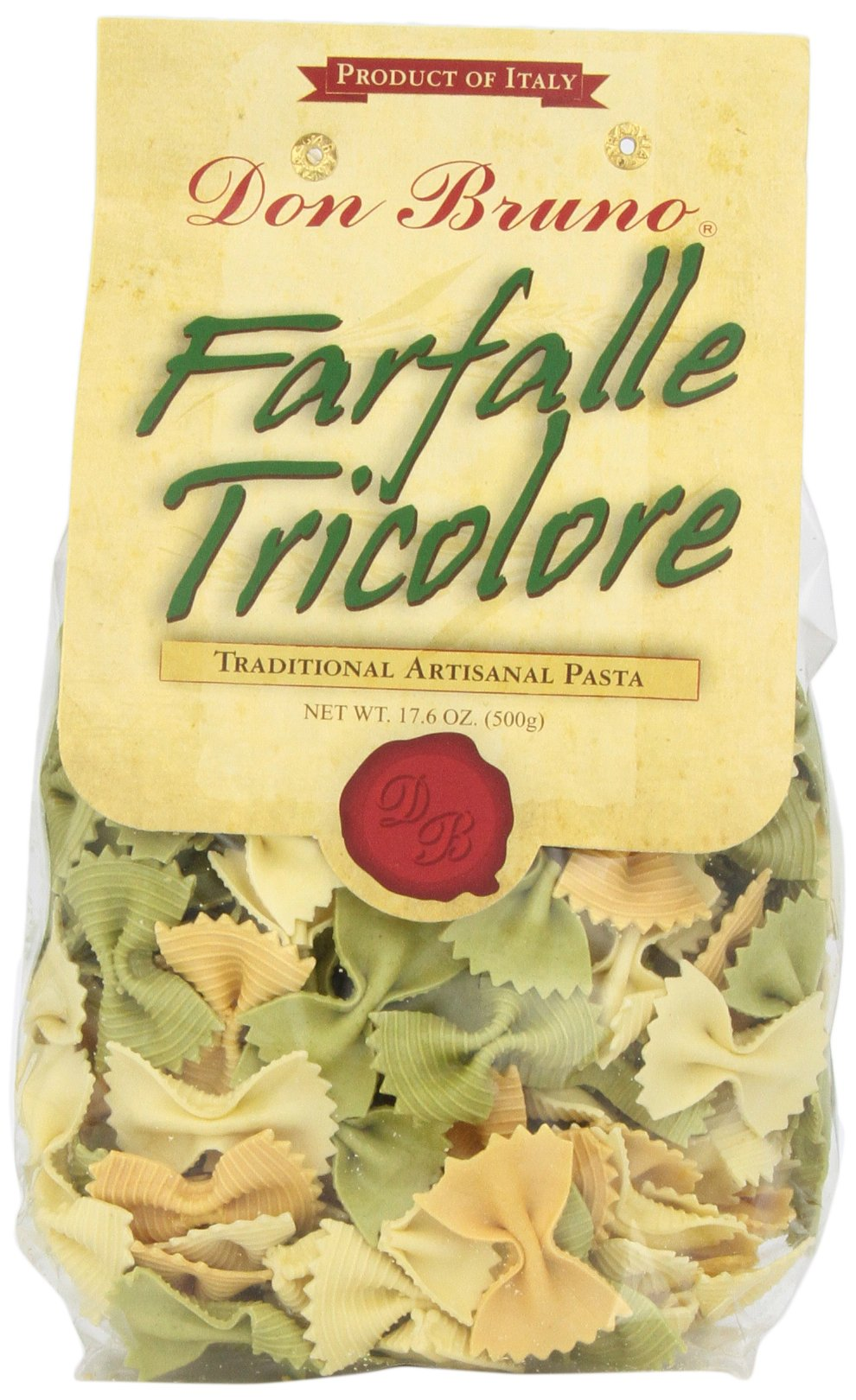 Don Bruno Pasta, Farfalle Tricolore, 17.6 Ounce (Pack of 6)