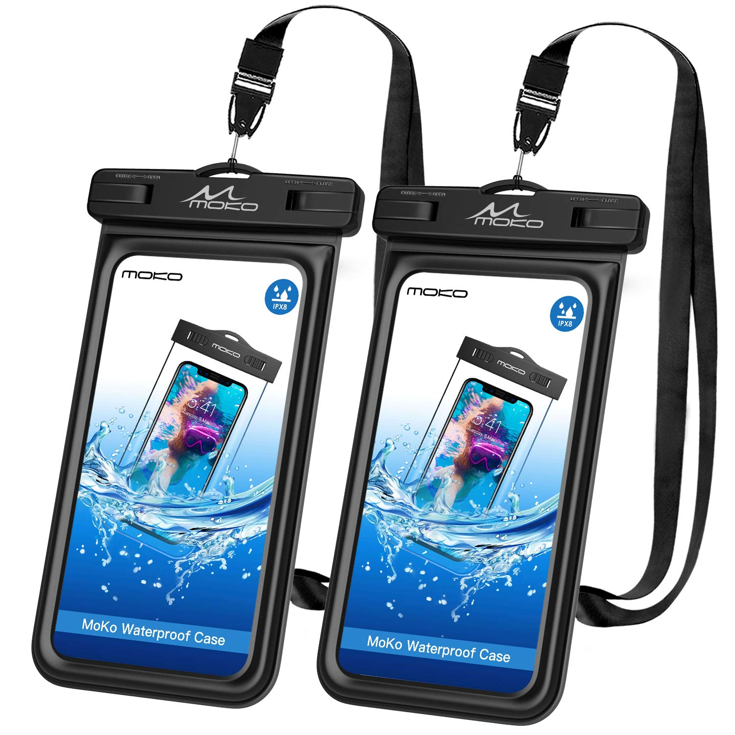 MoKo Floating Waterproof Phone Pouch [2 Pack], Waterproof Cellphone Case Dry Bag with Lanyard Compatible with iPhone X/Xs/Xr/Xs Max, 8/7/6s Plus, Samsung Galaxy S10/S9/S8 Plus, S10 e, Note 9/8, 6.5'' by MoKo